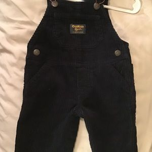 Osh kosh blue corduroy overalls w/2 dinosaur shirt